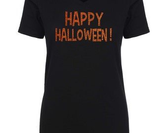 ORANGE GLITTER Halloween Shirt . Happy Halloween t-shirt . Womens halloween shirts.  Ghost, goblin, witch, broom shirt.