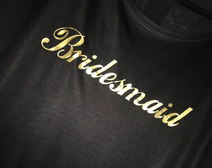 Gold Writing Bridesmaid Short Sleeve Off the Shoulder Shirt . Ti-Blend Short Sleeve Wide neck Bridesmaid t Shirt . Bridesmaid Gifts .