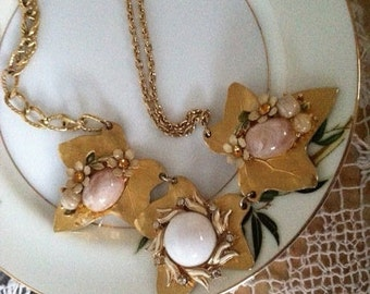SALE Handmade 3 Leaf Bib Necklace Assemblage