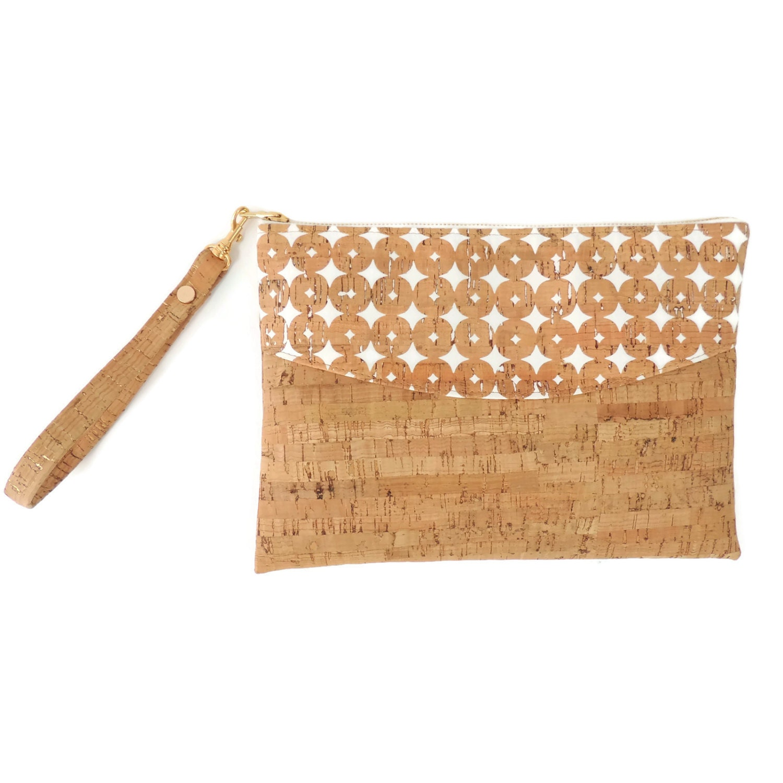 Cork Handbags: Cork Clutch Bag Vegan Wristlet Cork Zip Top Purse Small Tan