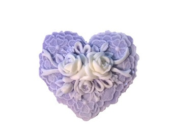 Heart and Ribbons Natural Soap Decorative, Handmade,Homemade  Natural,  50+ Scents Pick Color Type of Soap