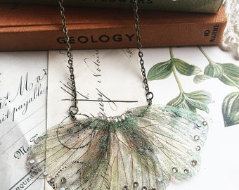 Beautiful delicate woodland faerie winged necklace