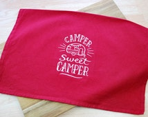 Camper Dish Towel - Embroidered Dish Towel - Camping Gift - Camper Decor - Camper Sweet Camper - RV Accessories - Camping Tea Towel - Red