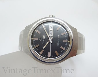 Timex Men's Retro Watch 1978 Black Dial With Day & Date Window 2 Jewel Electronic Movement Stainless Steel Case