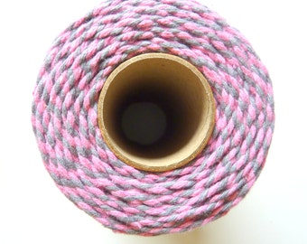 10m Bakers Twine 12ply 2mm 100 % Cotton Pink and Grey Crafts British Made