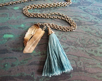 Tassel Necklace with Crystal Point and Charm