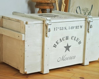 Rustic trunk - coffee table trunk - trunk side table - individual name and coordinates - nautical shipping crate - beach house dreams