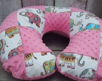 Elephant girl Boppy-pink minky Boppy cover-shower gift-patchwork Boppy-quilted Boppy cover-