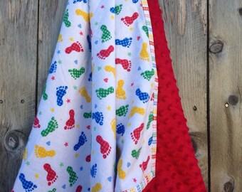 Modern baby blanket - Footprint baby blanket - Primary colors baby blanket - baby boy flannel blanket - Minky baby blanket