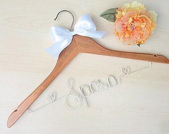 Wedding dress hanger, Personalized bridal hanger, bride to be, rustic wedding hanger, custom bridal hanger