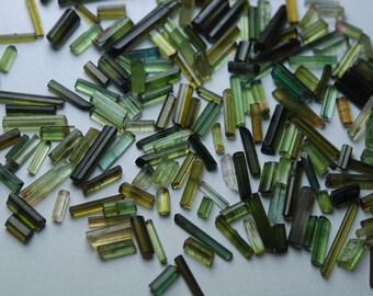 30 Pieces Parcel, Green Tourmaline Stick Loose, 8-20mm
