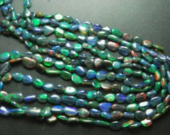 8 Inches, Full Strand, Super Fully Flash Black Opal Smooth Polished Nuggets, Size 8-4.5mm