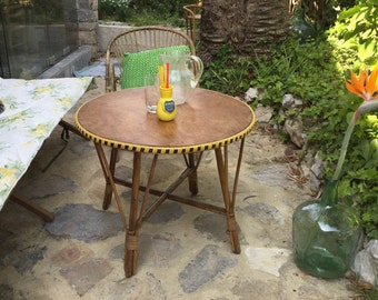 Table low round rattan vintage price drop