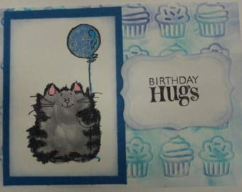 Handmade Kitty Hug Birthday Card