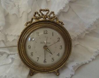 Vintage Rare Saks Fifth Avenue French Gilt Ribbon Alarm Display Collectible Clock Paris Apartment