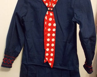 Vintage Young Girls Navy Blue Sailor style Dress with Red and White Polka Dot Tie
