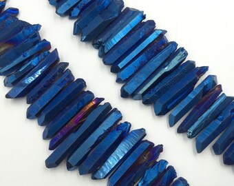 "AAA Titanium Blue Crystal Quartz Points Metallic Raw Quartz Crystal points Stick Dagger beads top drilled graduated 35-40pieces 15.5"" CP"