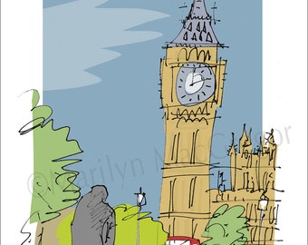London Big Ben fine art print in 2 sizes