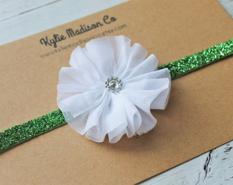 white and green glitter headband, baby headband, white flower on green glitter elastic