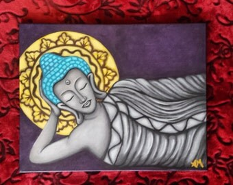Buddha, Original painting,  purple, teal, gold, meditating,  Acrylic painting on canvas