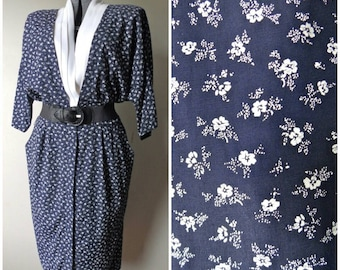 Vintage DEAD STOCK Navy Blue Sunday Dress - Size 16