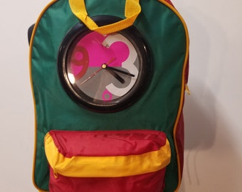 Back Pack Vintage Retro 90s Color block #badass Clock Backpack - Flava Falve - 90s Hip Hop Back packs