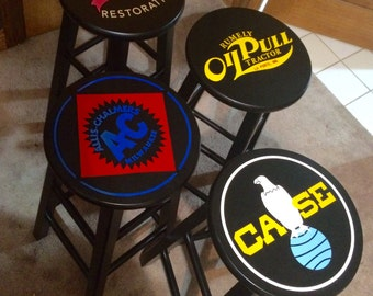 Custom Bar Stool Decals - Set of 2 or 4 ~~ 2 Colors Max Per Stool ~~ Design also Available as Shown ~ Allis Chalmers Rumely Case Tractor