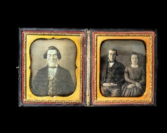 2 daguerreotypes in 1 case of handsome couple seated and seated man  circa 1860