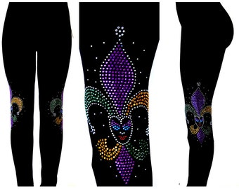 Plus Size Full Length Leggings Embellished Mardi Gras Jester Fleur De Lis Design