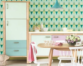 Summer SALE Self adhesive wallpaper, wall decal - Triangle pattern - 023 mint/ emerald/ chartreuse/ poison/ pine