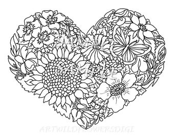 Flower coloring page | Etsy