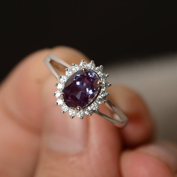 alexandrite ring engagement gemstone sterling silver promise