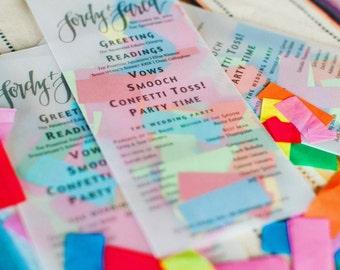 Confetti Stuffed Wedding Programs