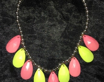 Coral & Lime Green Chunky Beaded Necklace