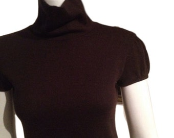 Girls / Juniors Brown Wool Blend Turtleneck Sweater -14/166 - Made in Italy