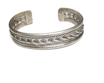 Vintage Sterling Silver Rope Coil Cuff Bracelet