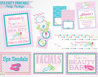 Spa Birthday Party Printable Package Purple Pink Blue Spa Party