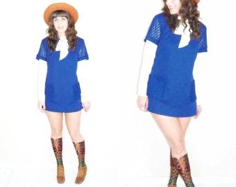 Vintage 60s mod retro blue mini dress