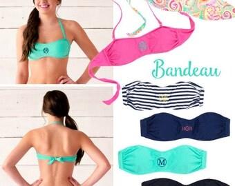 Monogram Bandeau, monogram bandeau top, Monogram Bikini Top, Monogram SwimTop, Monogram Swimsuit,MonogramSpring Break, Personalized Swimsuit