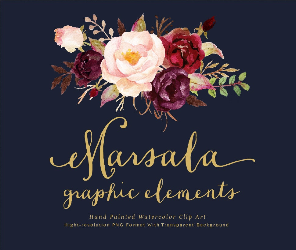 Watercolor floral clip art marsala graphic elements individual - High resolution watercolor flowers ...