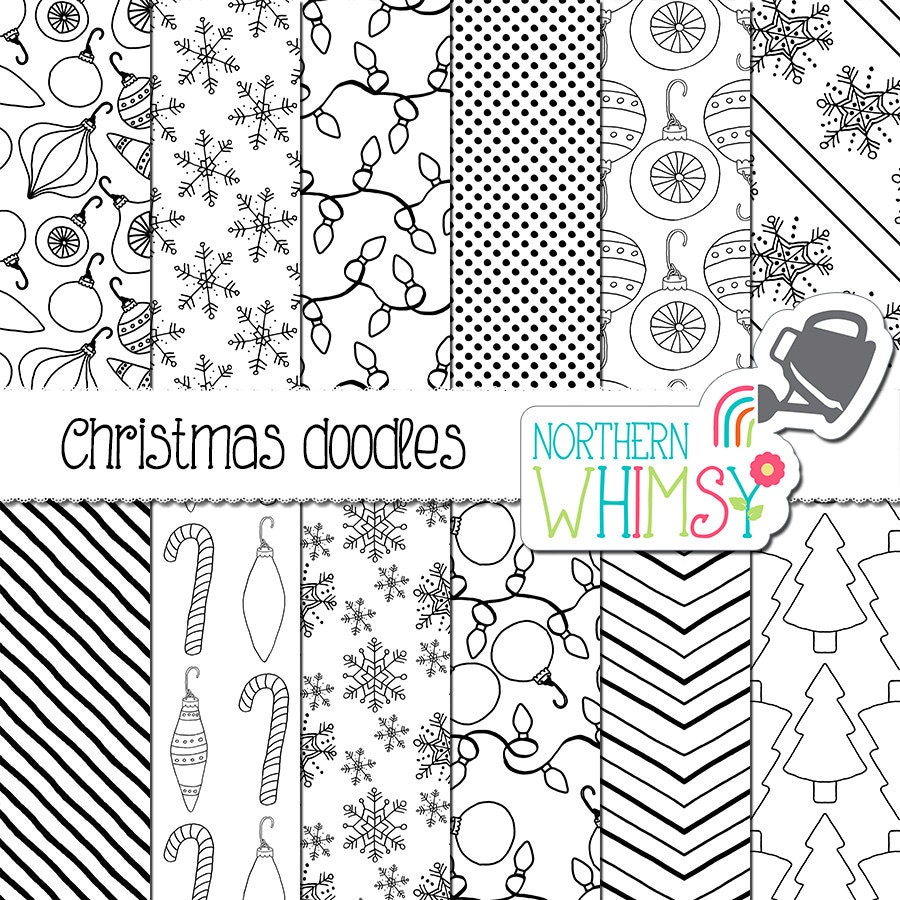 christmas digital paper black and white christmas doodles