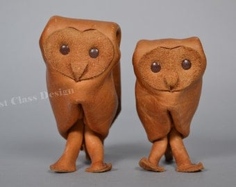 Set of two DERU Germany leather  owls  Mid Century Figurine - 60s