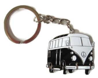 NEW Retro vintage VW combi bus keychain rockabilly pin up 70's hippie volkswagen kustom low riding