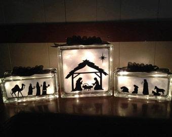Nativity Scene Set - Lighted Glass Block Set - Home Decoration, Night Light