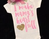 Baby Girl Onesie I make mama's heart full onesie Girls Shirt Baby girl take home outfit Baby Shower Gift