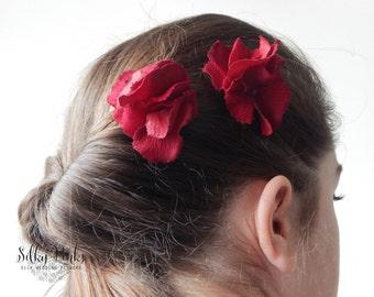 Red Hydrangea Hair Clips, Red Hair Accessories, Hair Clips, Hair Accessories, Hydrangea Hair Decorations, Red Hair Clasps, Wedding Hair Clip