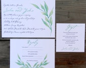 Green watercolor wedding invite, Invitation Suite, Green leaf, Watercolour