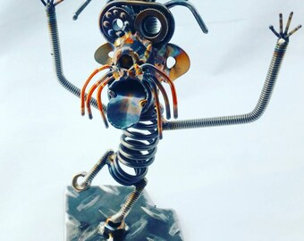 Scrap Metal Art Sparkplug head man