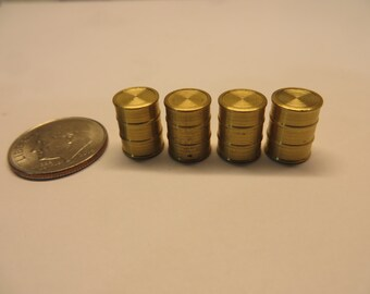 HO Scale Solid Brass 55 Gal. Drums 4-Pack