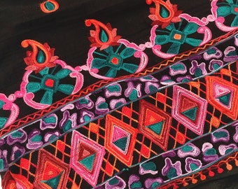 Ethnic Floral Embroidered Cotton Fabric by the Yard